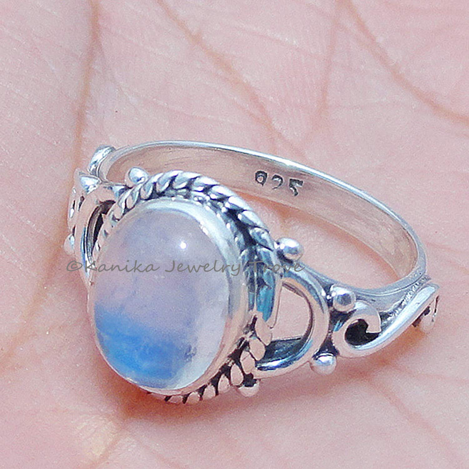 wedding ring handmade silver ring rainbow moonstone 925 silver jewelry,solid silver ring birthstone ring