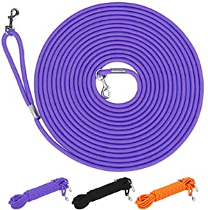 Hi Kiss Check Cord Large,Medium Small Dogs/Puppy Obedience Recall Training Agility Lead - 15ft 30ft 50ft Training Leash - Great for Training, Play, Camping, or Backyard