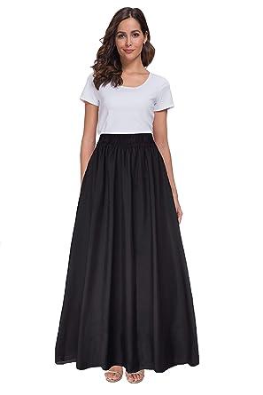 0cf152c4e0 Sinono Womens Chiffon Retro Maxi Skirt Vintage Ankle-Length Skirts at  Amazon Women's Clothing store: