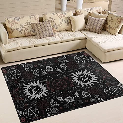 Supernatural Symbols Black Area Rug 5'x 7'