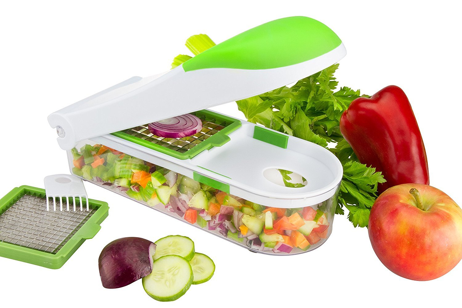 Food Chopper Vegetable Slicer Dicer Onion Chopper Fruit and Cheese Cutter 3 Interchangeable Safe Blades Food Container & Cleaning Brush - By Nuovva