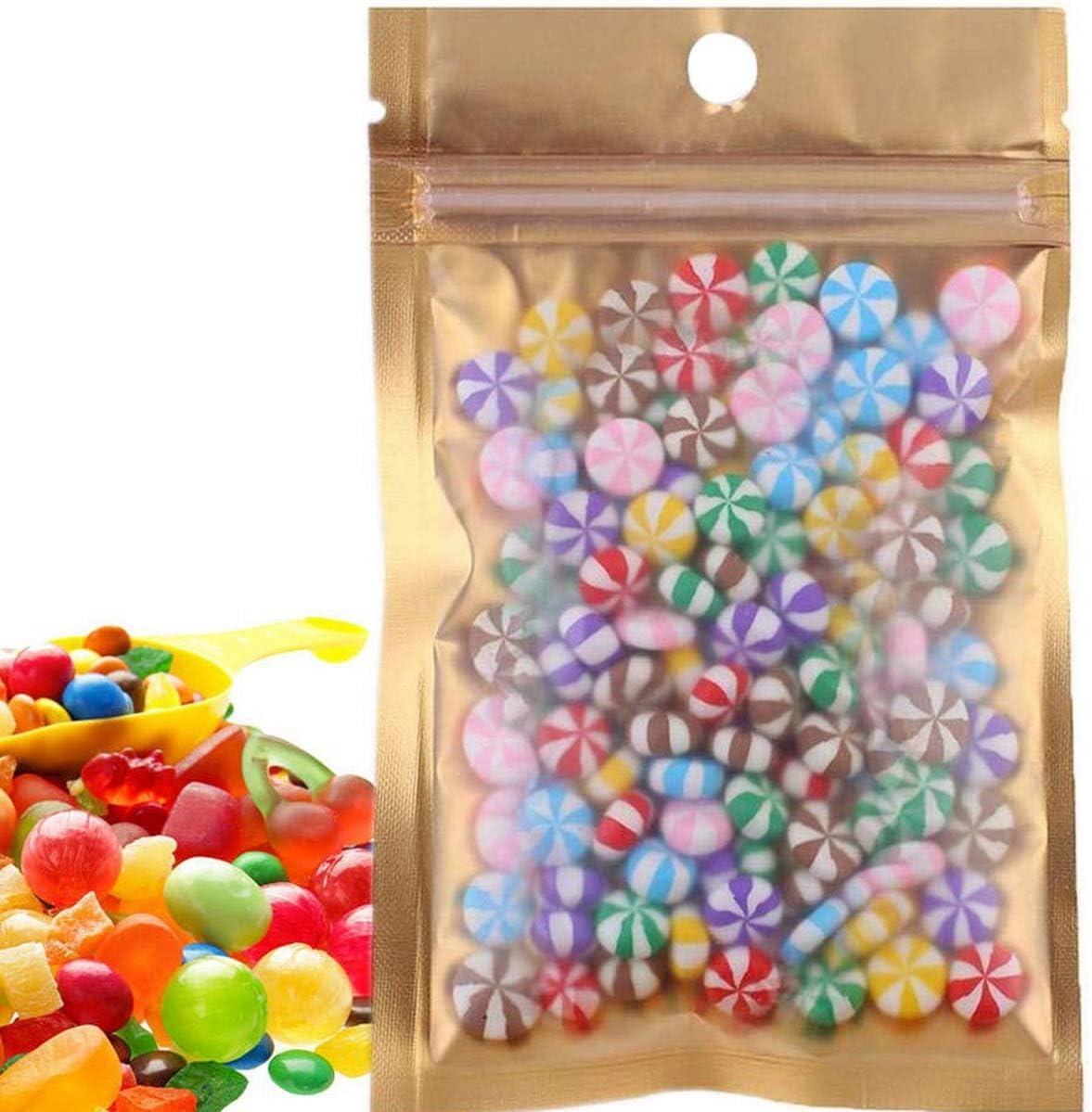 50 Pcs Clear Golden Zip Lock Mylar Bags Aluminum Foil Resealable Plastic Valve Zipper Pouches Bulk Food Storage Foil Lined Grip Seal Wrap (20cm x 12cm)