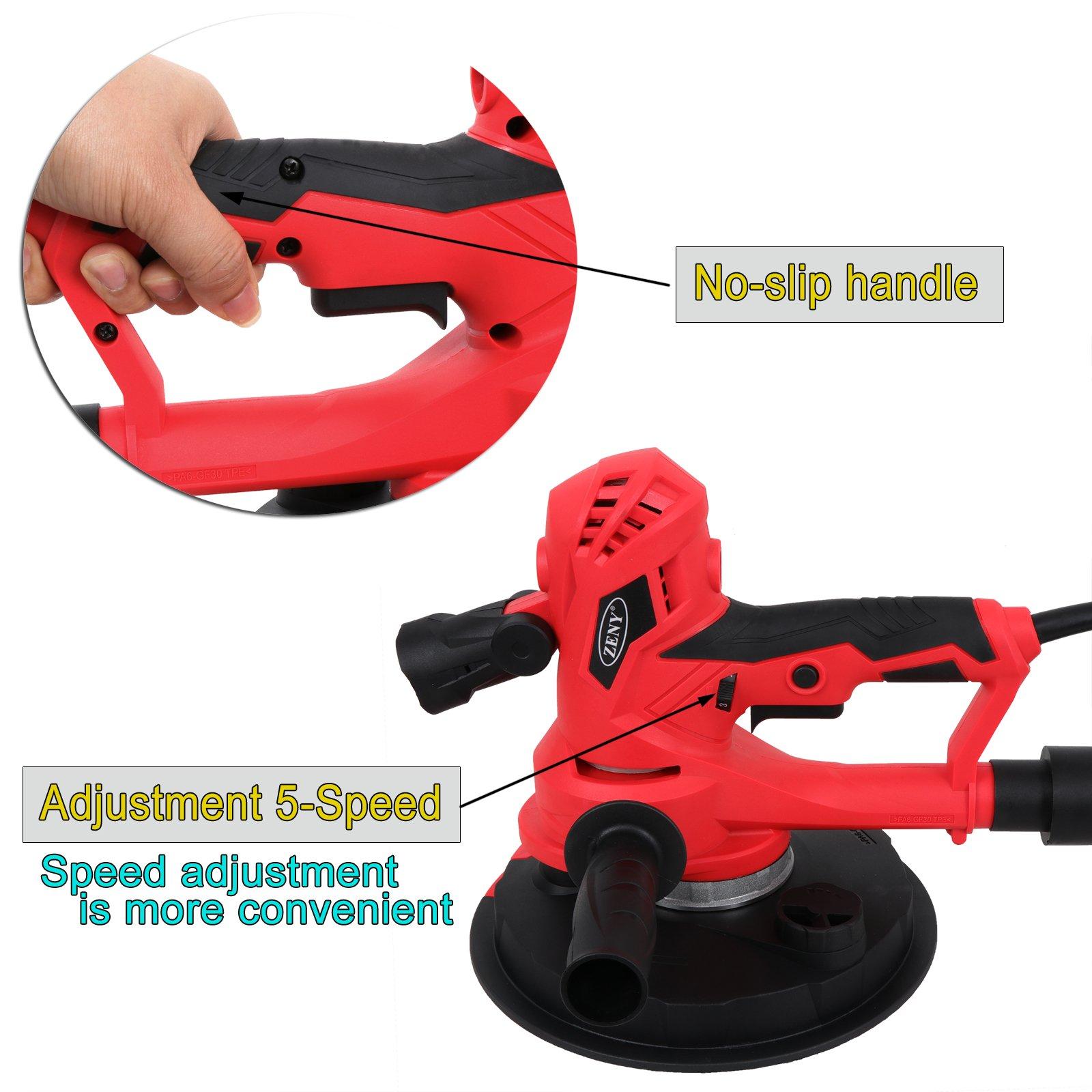 ZENY Electric Handheld Drywall Disc Sander 750W Adjustable Variable Speeds Vacuum Sander w/Sanding Pads & LED Light by ZENY (Image #5)