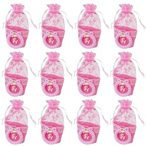 12 Bolsa Regalo Bautizo niña,Color Rosa,Organza-Coche ...