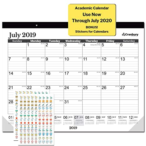 Rubys Pantry Food List 2020.Large School Year Desk Calendar 2019 2020 17 75 X 13 75 Black Use Through July 2020 As Calendar 2019 2020 With Stickers For Deskpad Calendars