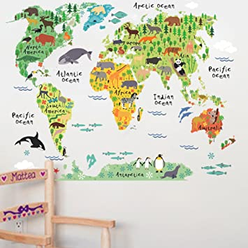 Mlmsz large kids educational animalfamous building world map home mlmsz large kids educational animalfamous building world map home evolution peel stick nursery gumiabroncs Gallery