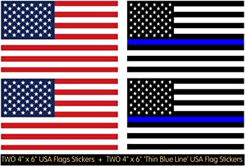 Adhesive on Back 2 Die-Cut Screen Printed Large 4 x 6 Thin Red Line United States American Flag Decal Stickers; Premium Quality Heavy-Duty 3M USA Vinyl