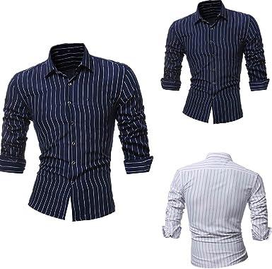 Winwintom Camisa Casual Manga con Botones Camisa De Hombre Camisas Hombre Tallas Grandes, Camisa Casual Hombre Manga Larga de Vestir Color Contraste de Moda, Camisas Hombre Tallas Grandes: Amazon.es: Ropa y accesorios
