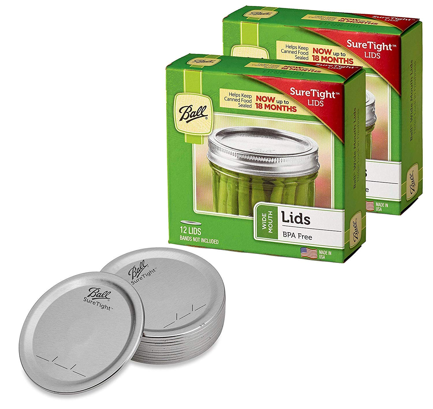 Ball Wide Mouth Mason Jar Lids 12-Count per Pack (2-Packs Total) by Jarden