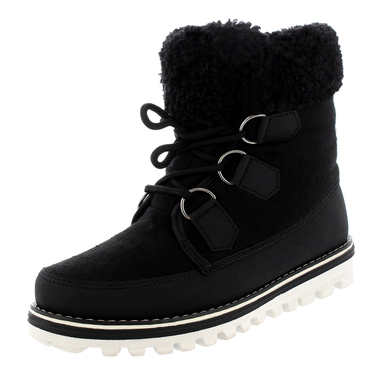 Polar Products Womens Quilted Short Faux Fur Snow Waterproof Winter Durable Side Zipper Sneaker Boots B07287R23V 10 B(M) US Black Textile