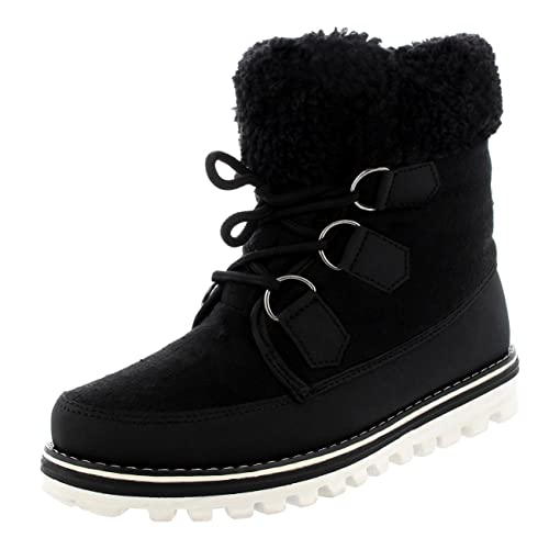 Womens Waterproof Durable Snow Winter Hiking Fleece Ankle Boots