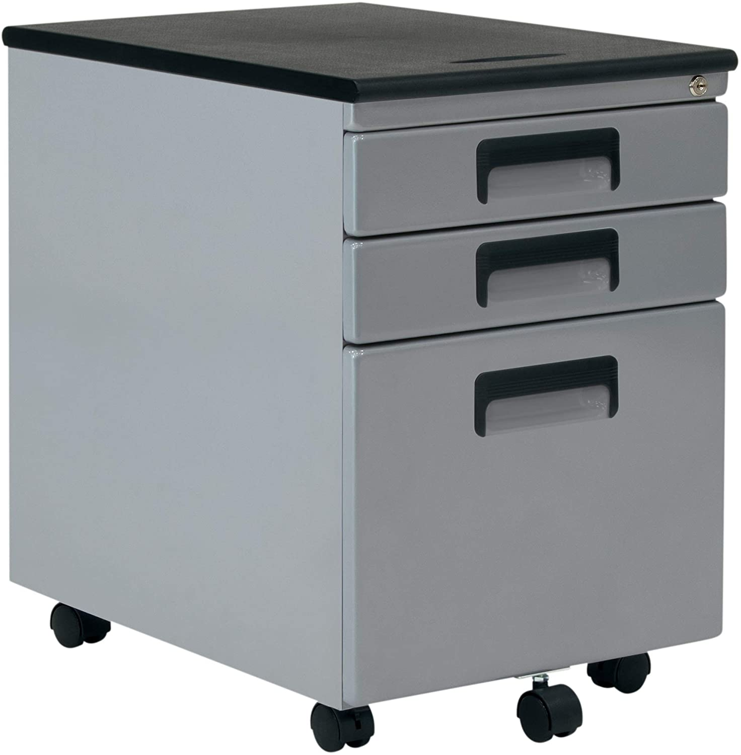 Craft & Hobby Essentials Silver Metal 3, Vertical, Mobile Filing Cabinet 15.75\ W x 22\ D, Craft Supply Storage with Locking Drawers