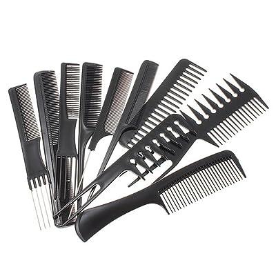 ESYN 10 Pieza Hair Styling peine conjunto profesional de peluquería Cepillo Negro