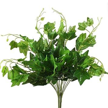 Amazing Artificial Plants, Hogado 2pcs Silk English Ivy Leaves Faux Shrubs Fake  Bouquet Arrangements Simulation Greenery