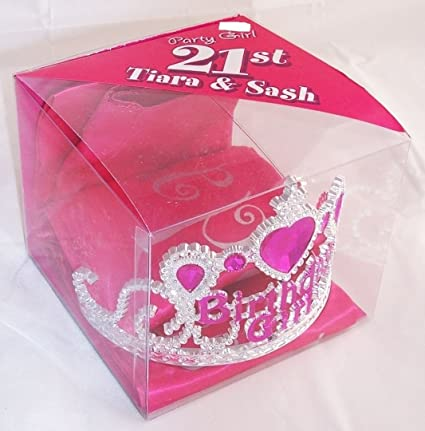 Amazon com: 21st Birthday Girl Tiara & Sash - Silver & Pink