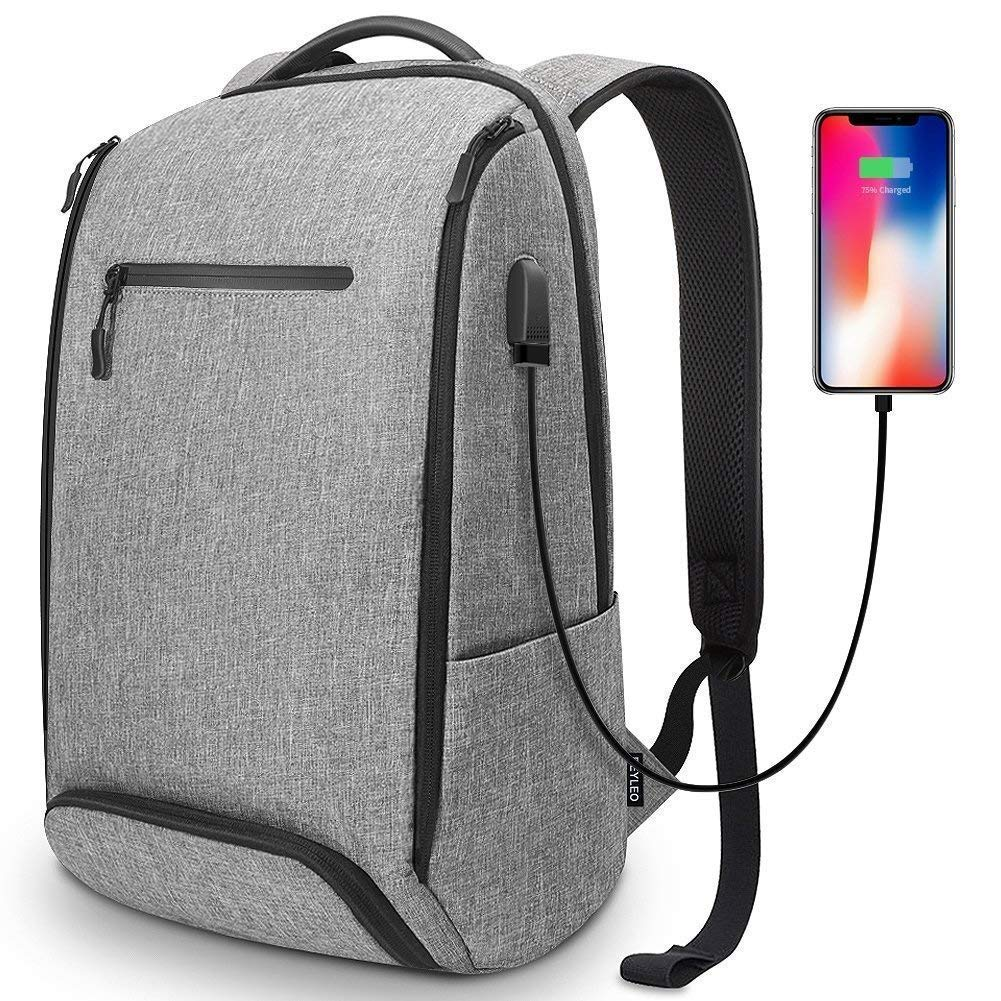 Laptop Backpack, REYLEO Backpack, Work Backpack for Man&Woman,Fits 15.6 Inch Laptop, with Shoe Compartment, External USB Charging Port, Water Resistan,Gray RB06