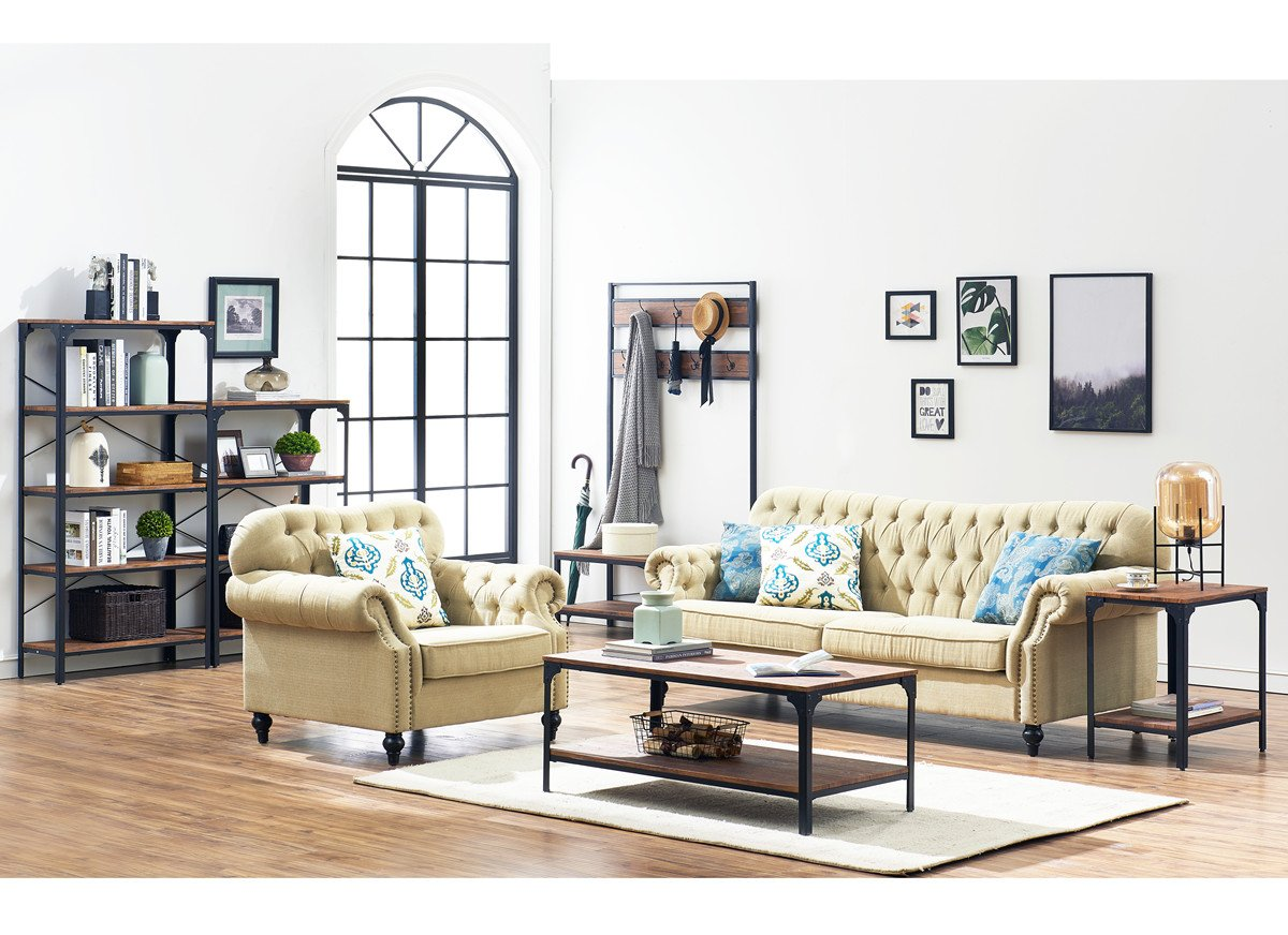 "O&K Furniture 4-Shelf Industrial Vintage Bookcase, Metal Bookshelf, 48""H x 33""W x 13""D, Barn-Wood Finish by O&K Furniture (Image #9)"