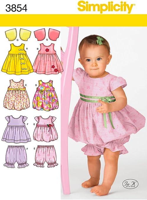 Simplicity 3854 - Patrones de Costura para Hacer Vestidos de bebé ...