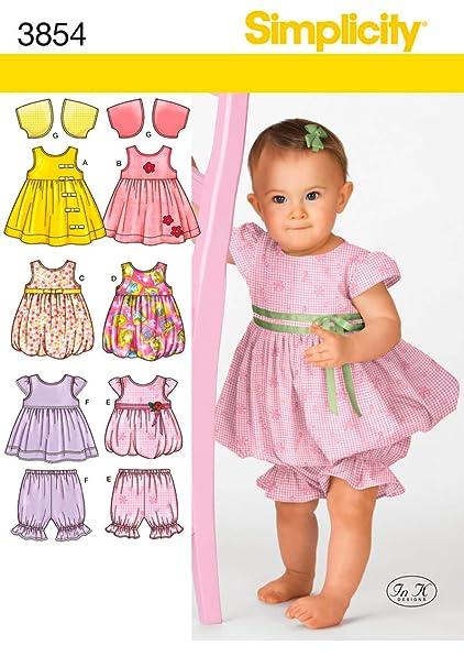 Simplicity 3854 - Patrones de costura para hacer vestidos de bebé