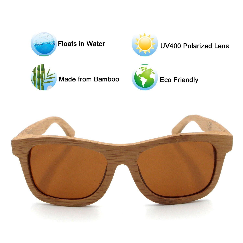 2d70f7a1d6 LHHMZ Hombre/Mujer Gafas de Sol de Madera de bambú genuinas polarizadas  Gafas de Sol Ciclismo Ligeras Gafas de Vintage reflejado Flota en el Agua:  ...