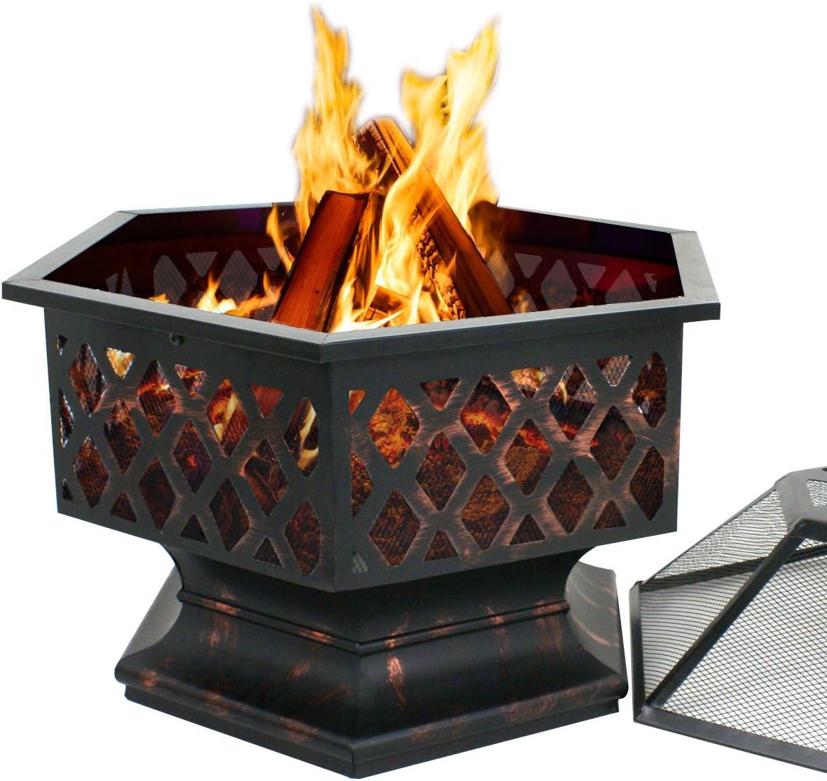 ZenStyle Hex Shaped 24 Fire Pit Outdoor Oil-Rubbed Bronze Heavy Steel Firepit Hexagon Wood Burning Fireplace for Patio, Backyard, Garden, Outdoor