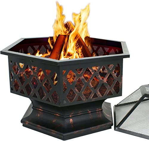 ZenStyle Hex Shaped 24 Fire Pit Outdoor Oil-Rubbed Bronze Heavy Steel Firepit Hexagon Wood Burning Fireplace