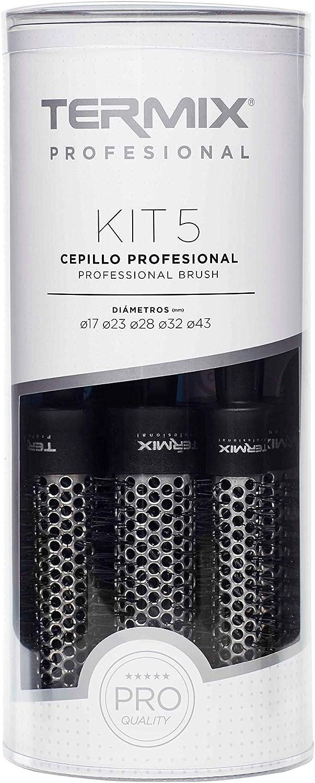 Termix profesional -Pack de 5 cepillos de pelo térmico redondo con tubo de aluminio que prmite reducir el tiempo de secado. El Pack incluye los diámetros Ø17, Ø23, Ø28, Ø32 y Ø43.