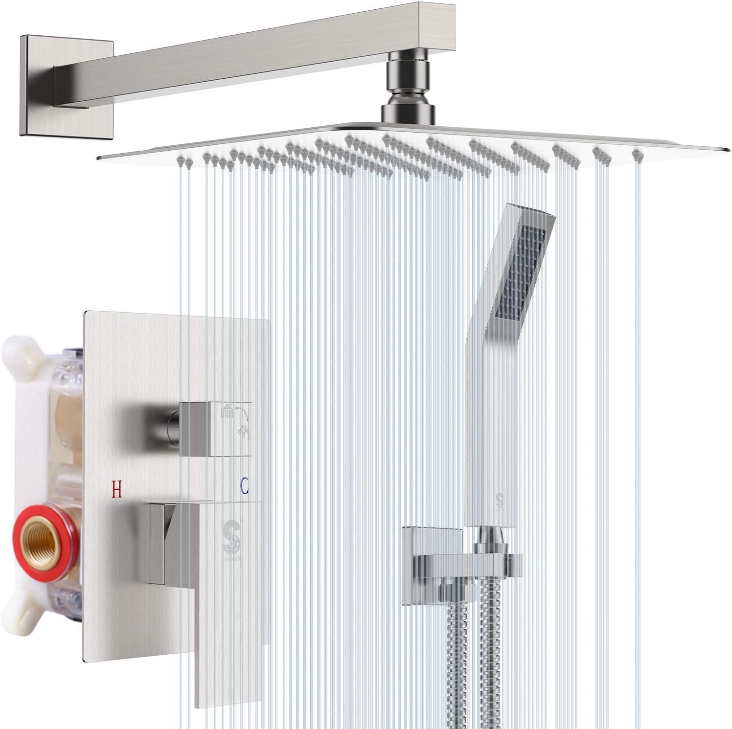 SR SUN RISE 12 Inches Bathroom Luxury Rain Mixer Shower Combo Set