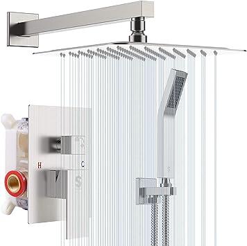 grifo de ducha y ba/ñera de mano cromado pulido Conjunto de ducha mezcladora de lluvia sistema de ducha digital que incluye cabezal de ducha de lluvia
