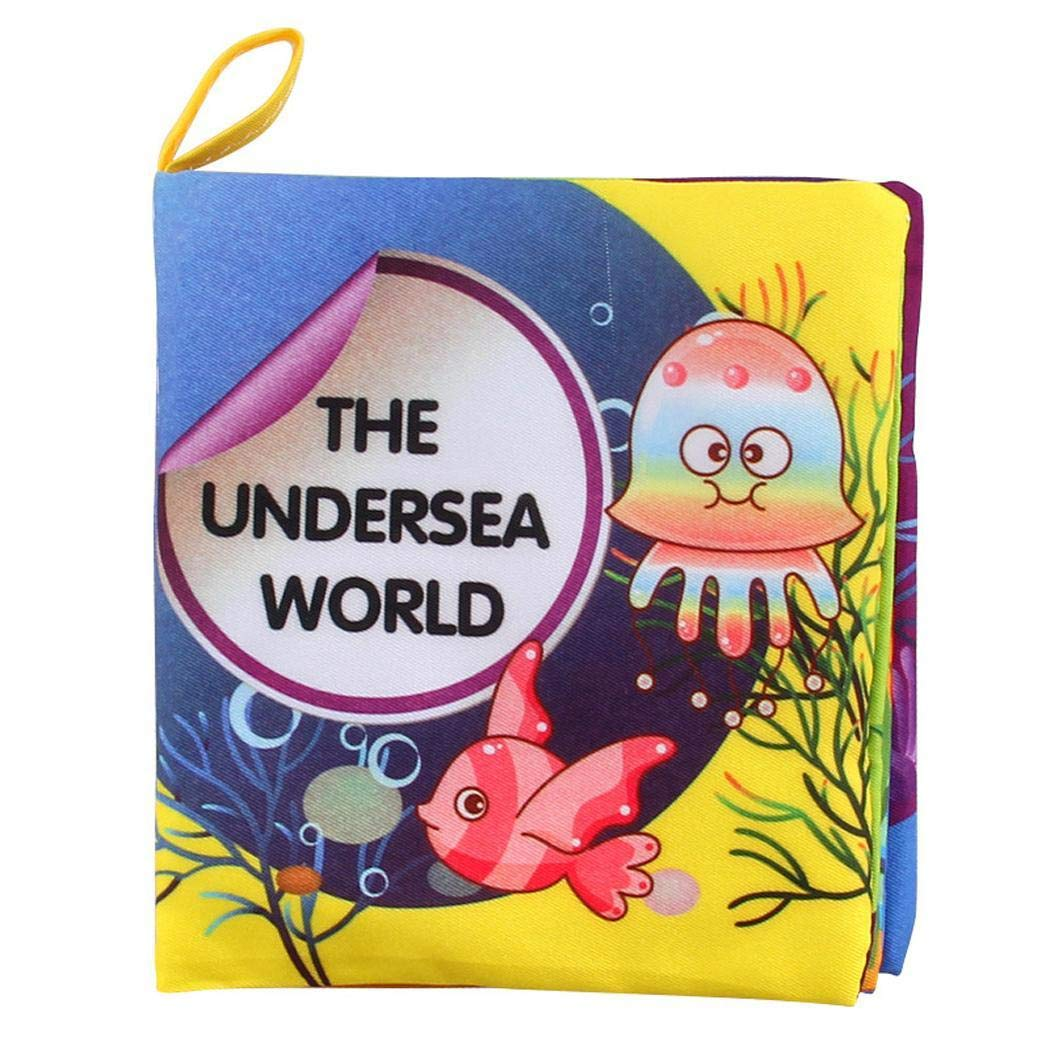 Nessere Baby Early Educational Cloth Book English Reading Book Anti-Tear (Ocean)