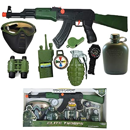 Indusbay Complete Army Role Play Toy Set with 9 Piece Special Force  Military Toys - AK-47 Combat Gun, Water Bottle, Hand Granade ,Gas Mask,