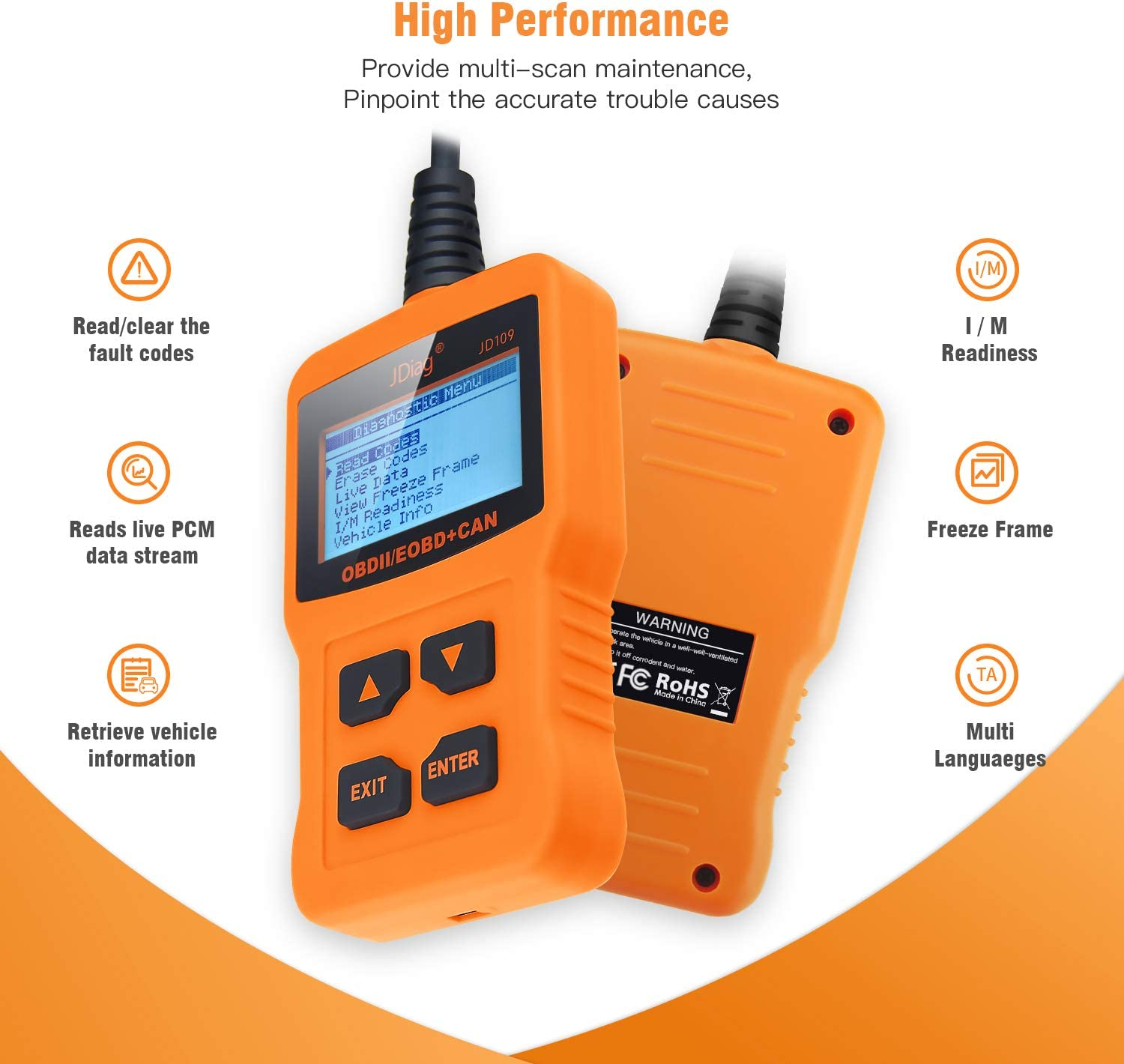 Arozk OBD2 Scanner,Universal OBD2 Code Reader Car Automotive Engine Light Error Diagnostic Scan Tool,Read /& Erase Fault Code DTC View Check Emission Monitor Status for OBDII Protocol Vehicle from 1996