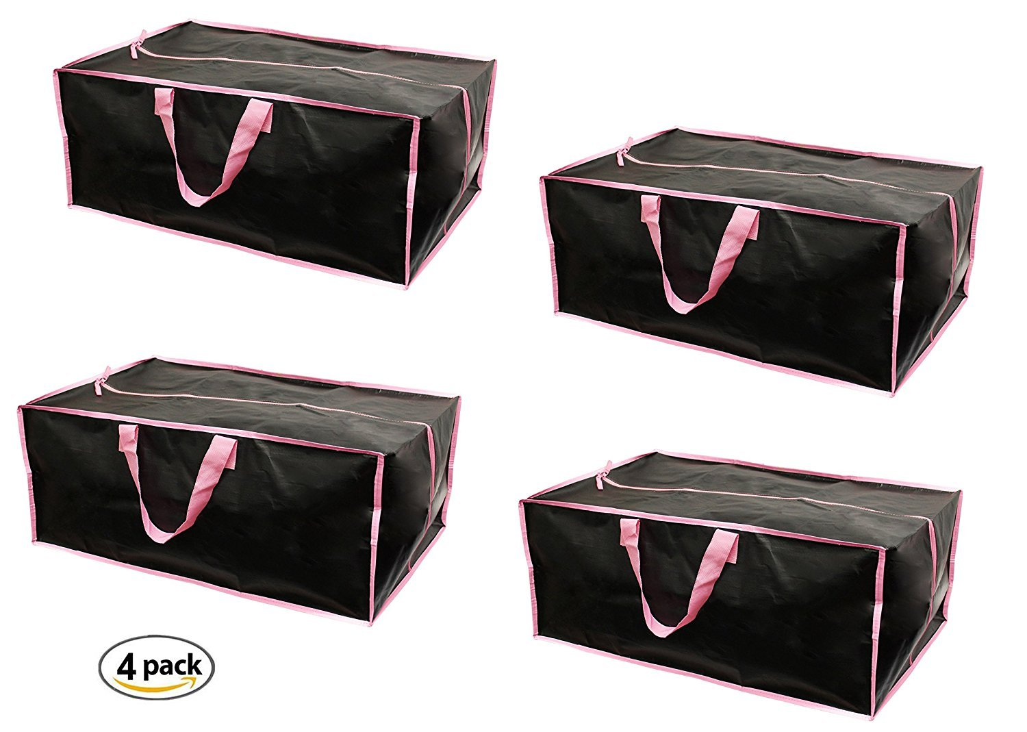 Earthwise Extra Large Reusable Storage Bags Totes Container Backpack Handles w/Zipper closure in Matte Black with Pink Trim Great for MOVING, Compatible with IKEA Frakta Carts (SET OF 4)
