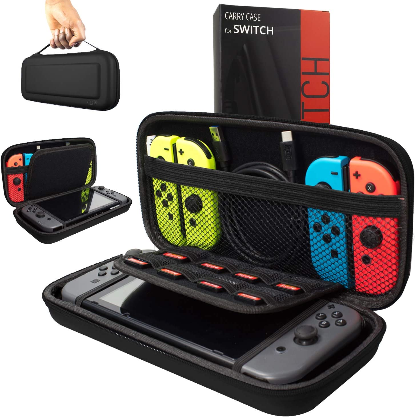 62dd511701826 Orzly Carry Case Compatible With Nintendo Switch - BLACK Protective Hard  Portable Travel Carry Case Shell Pouch for Nintendo Switch Console    Accessories