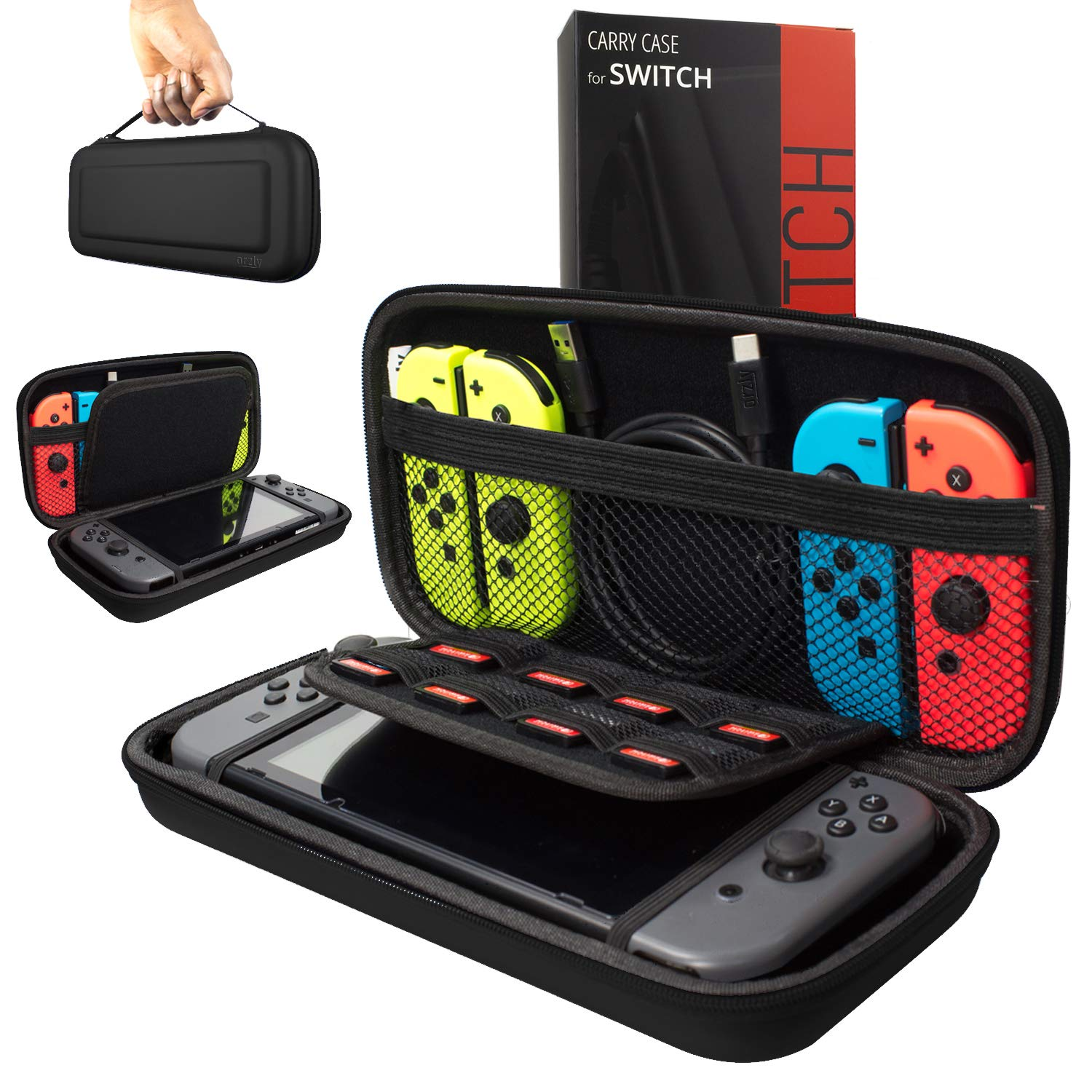 Orzly Carry Case Compatible with Nintendo Switch, Black (Case Only - Video Games & Console are NOT Included) product image