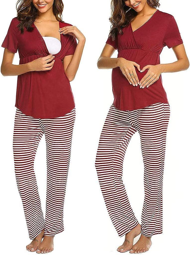 Damen Stillen T-Shirt Kurzarm V-Ausschnitt Einfarbige Umstandstop Freizeit Bequem Stillshirt und Gestreifte Hose Mode Pyjama Set