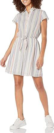 J.Crew Mercantile Women's Short Sleeve Seersucker Collared Tie Front Dress