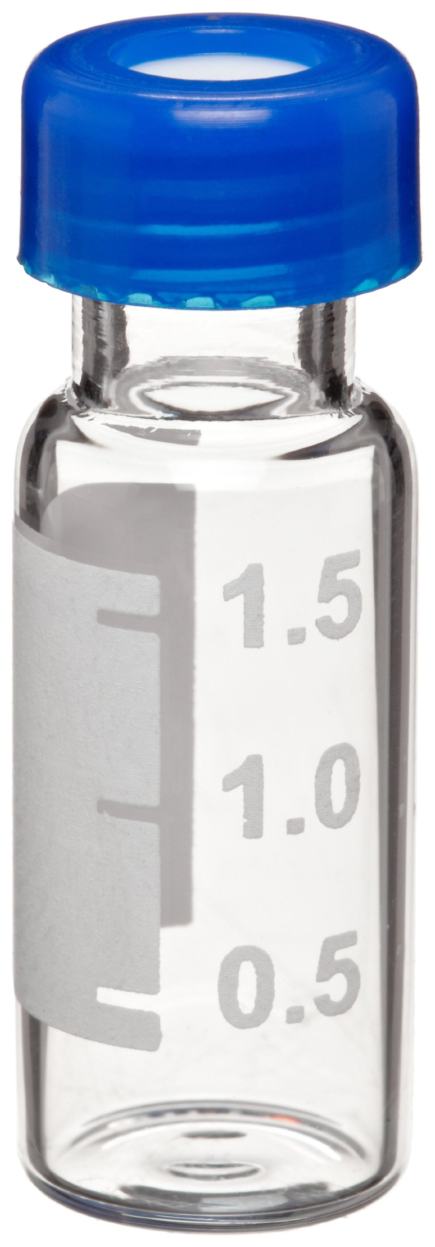 Wheaton W225161 Borosilicate Glass 1.8mL Vial with Writing Patch and 9mm Blue ABC Screw Cap, Clear (Case of 1000)