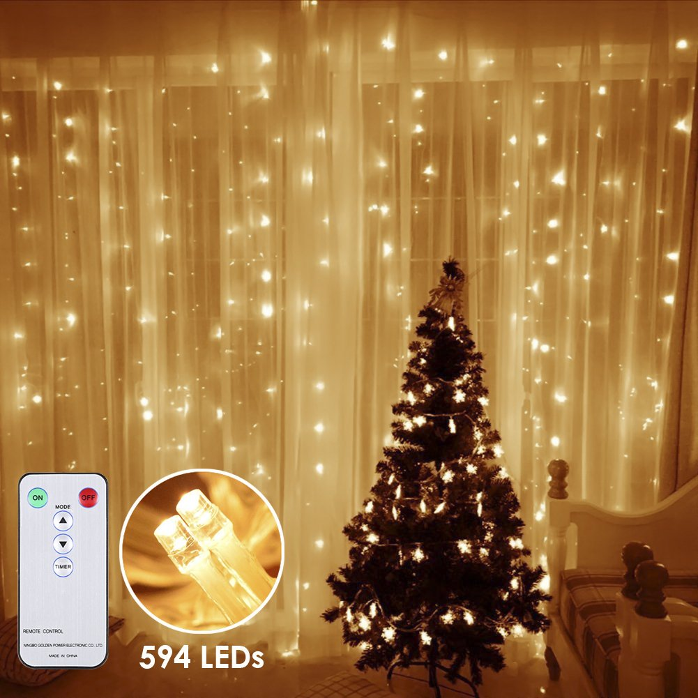 Amazon.com : GreenClick 594 LEDs Fairy Curtain String Icicle Hanging ...