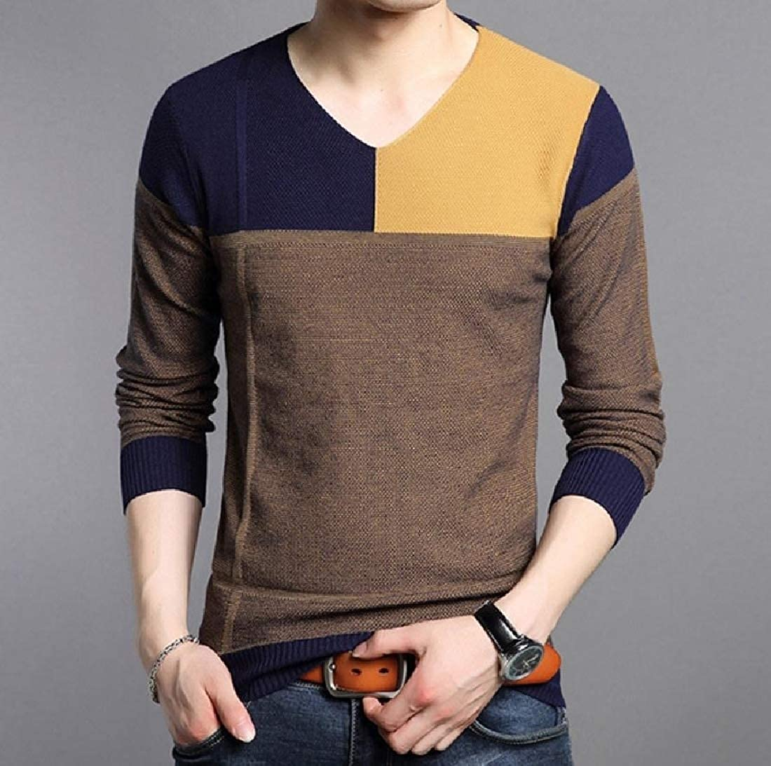 neveraway Men V Neck Ribbing Edge Hit Color Tops Long Sleeve Knit Sweater