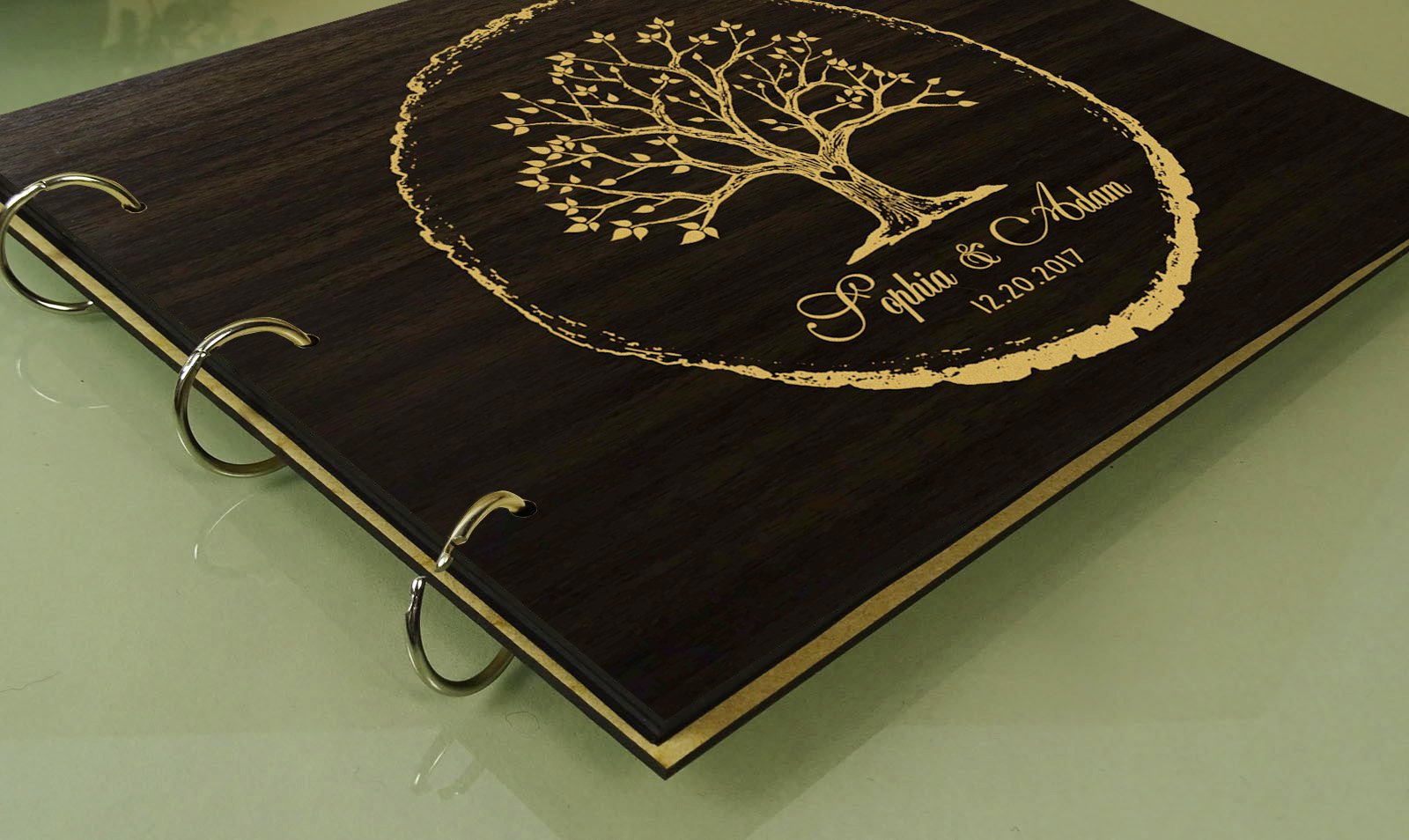 Handmade Tree Design Personalised Wooden Guest Book Rustic Wedding Wood Engraved Scrapbook by Darling Souvenir (Image #2)