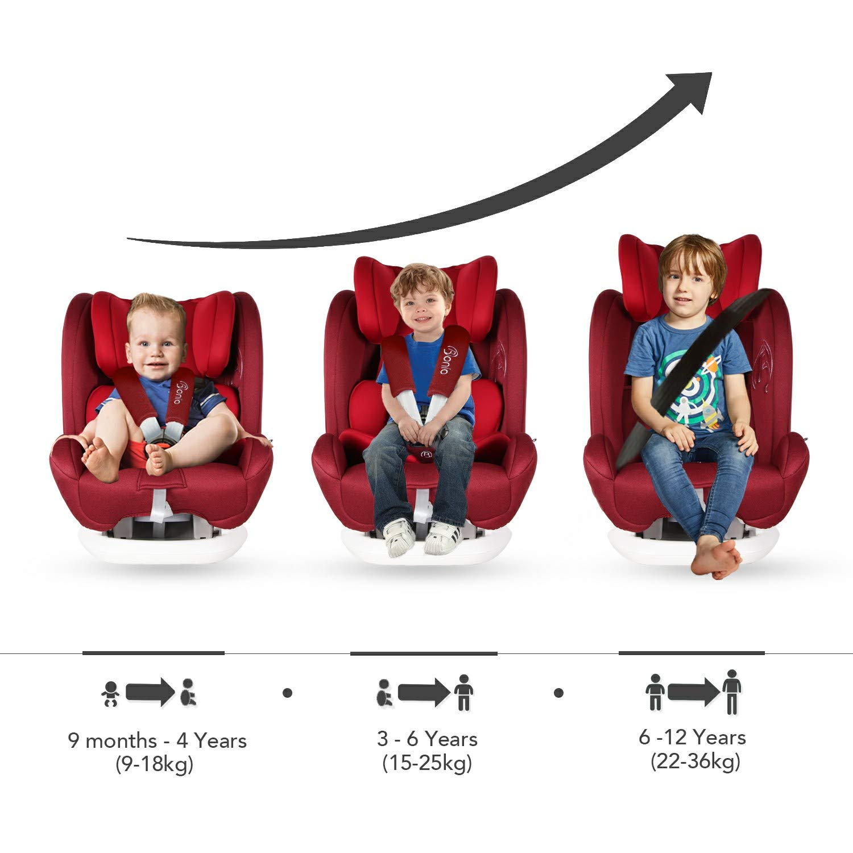 Rot Bonio Kindersitz 9-36 kg Verstellbare Kopfst/ütze mit ISOFIX 4 Sitzund Schlafpositionen Kinderautositz Gruppe 1 2 3 Autositz ab 9 Monate bis 12 Jahre