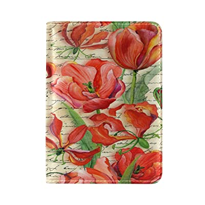 50%OFF PU Leather Passport Holder Cover Case with Red Floral Travel One Pocket