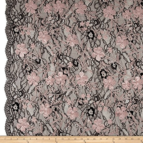 TELIO Elise Embroidered Chantilly Lace Dusty Pink Fabric by The Yard ()