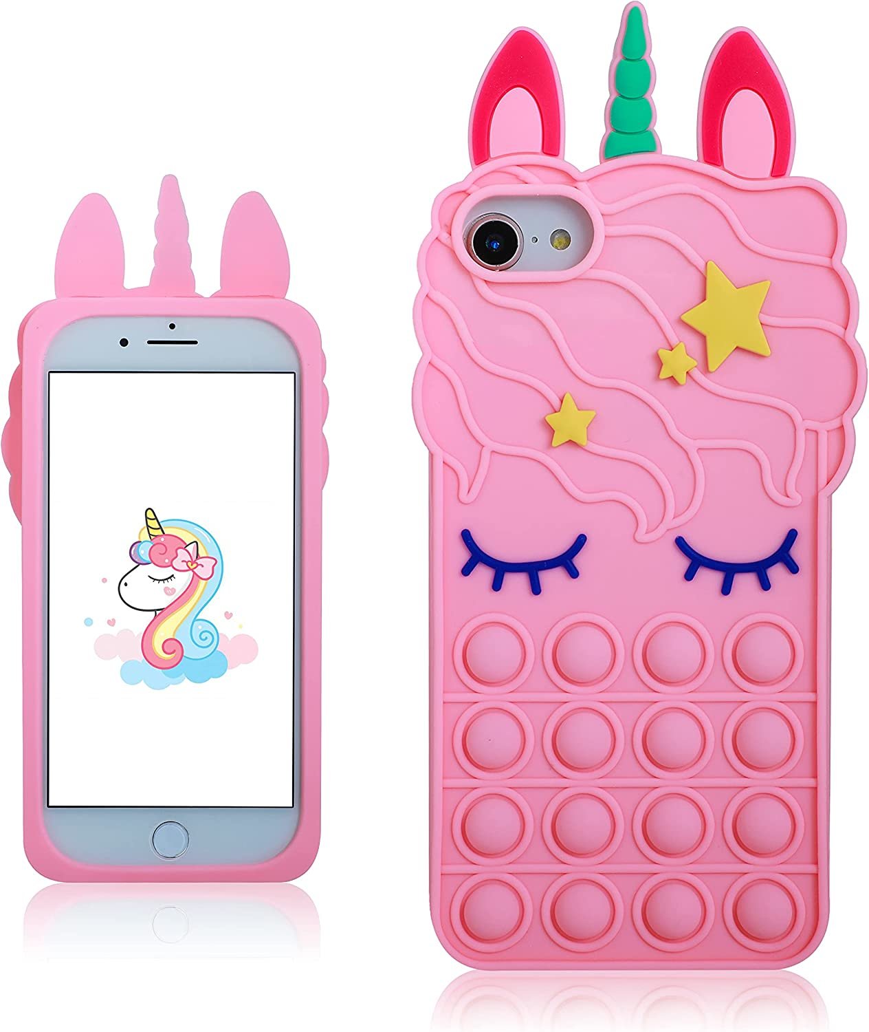 oqpa for iPhone 6/6S/7/8/SE 2020 Case Cartoon Kawaii Cute Funny Fun Silicone Design Cover for Girls Kids Boys Teen,Fashion Cases Fidget Aesthetic Bubble Unicorn(for iPhone 6/6S/7/8/SE 2020 4.7
