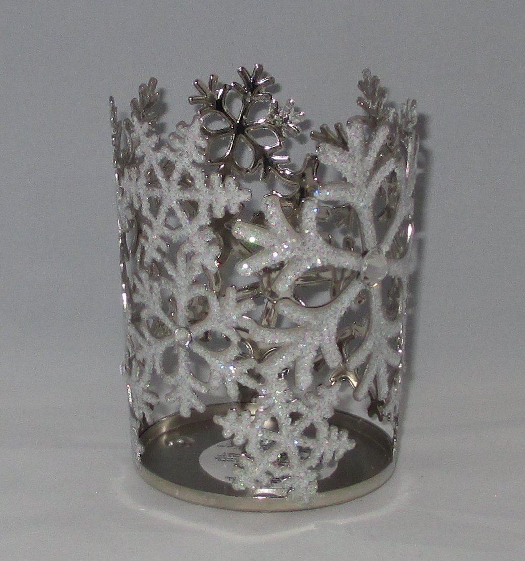 Frosted Glittering Snowflakes Silver Sleeve Medium Candle Holder