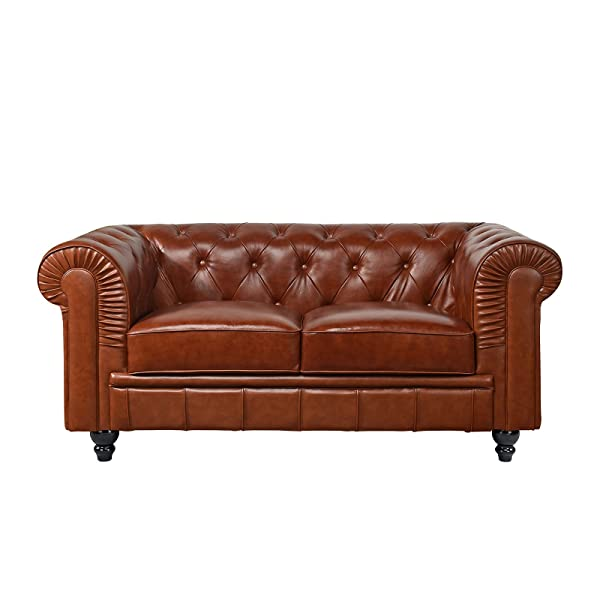 Divano Roma Classic Scroll Arm Real Leather Match Chesterfield Love Seat (Light Brown)