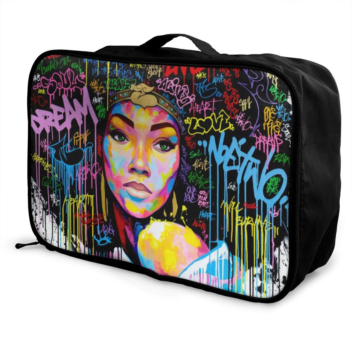 African American Women With Afro Urban Graffiti Travel Lightweight Waterproof Foldable Storage Portable Luggage Duffle Tote Bag Large Capacity In Trolley Handle Bags 6x11x15 Inch