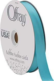 """product image for Berwick Offray 7/8"""" Wide Double Face Satin Ribbon, Turquoise Blue, 100 Yards"""