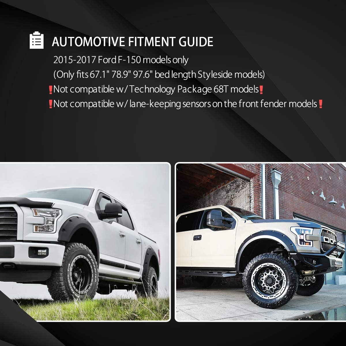 Autozensation For Ford F150 Styleside Black Pocket Style Fender Flares Wheel 6PC